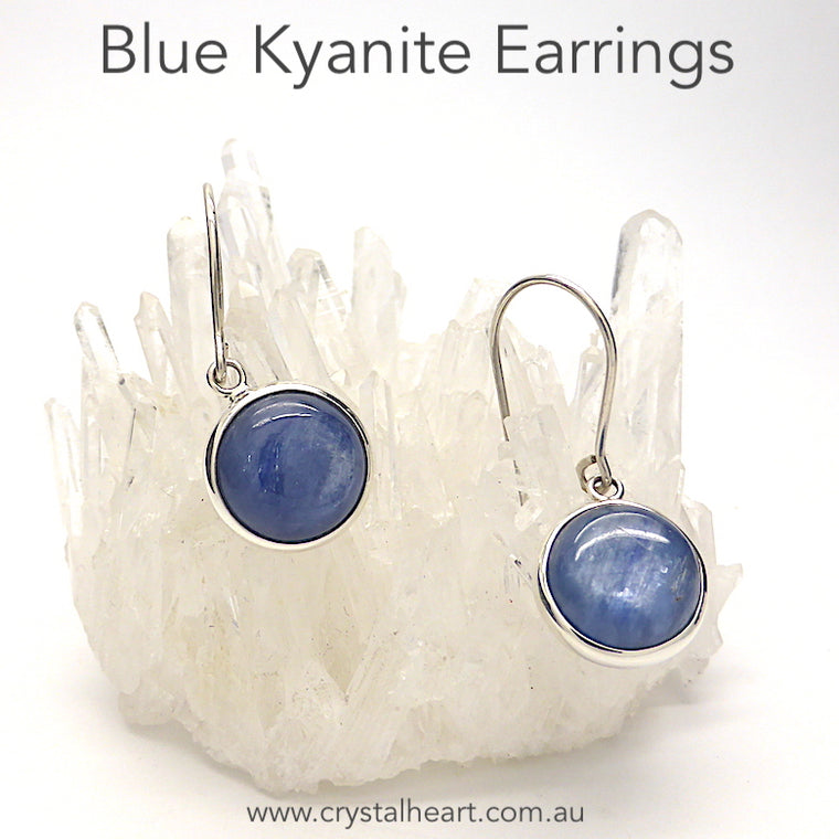 Blue Kyanite Earring, Round Cabochon, 925 Silver, kt1