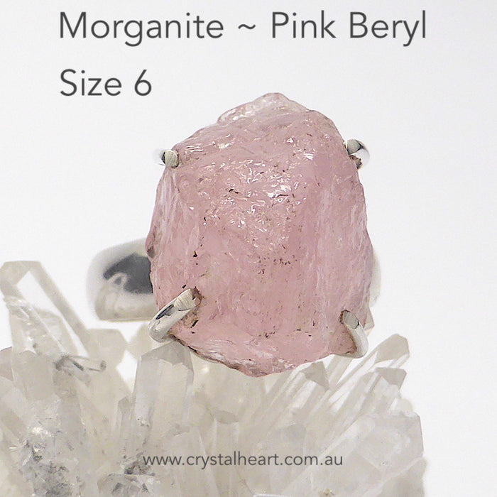 Morganite Ring ~ nice clear uncut chunks of this rare Pink Beryl | Good Color & Translucency | 925 Sterling Silver | Claw setting | open back | US Size 6 | AUS Size L1/2 | Divine Love | Libra Stone | Crystal Heart Melbourne Australia since 1986