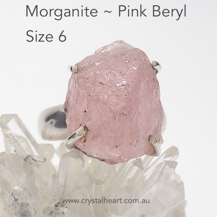 Morganite Ring Raw Nugget, 925 Sterling Silver gj1