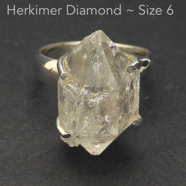 Ring Tibetan Herkimer Diamond | Claw set | 925 Sterling Silver | US Size 6 | AUS Size L1/2 | Genuine Gems from Crystal Heart Melbourne Australia since 1986