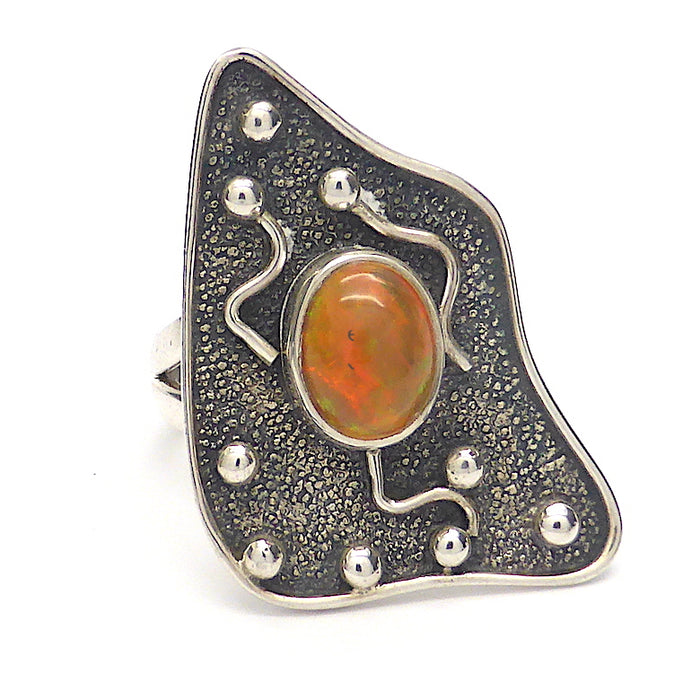 Ethiopian Opal Ring | Solid Oval Cabochon | US Size 7, AUS Size N 1/2 | Lovely Stone, Designer Setting | Genuine Gems from Crystal Heart Australia since 1986