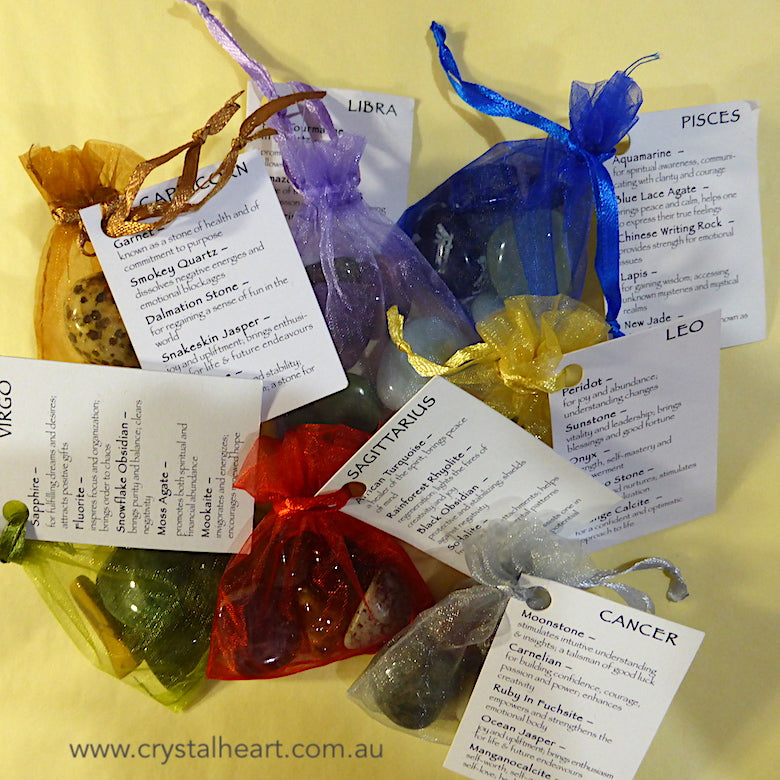 Crystal Star Sign kits to help guide your path | Selected stones in Organza bag with descriptions | Zodiac Stone Sets | Genuine Gems from  Crystal Heart Melbourne Australia since 1986