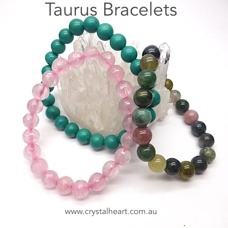 Set of 3 Star Sign Stretch Bead Bracelets presented in a satin Crystal Heart Pouch with descriptions of the stones | Taurus | Turquoise | Bloodstone | Rose Quartz | Genuine Gems from Crystal Heart Melbourne Australia since 1986