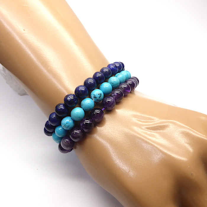 Set of 3 Star Sign stretch bracelets with semi precious gems | presented in a satin Pouch with descriptions of the stones  | Aquarius~ Amethyst, Lapis Lazuli, Turquoise | Genuine Gems from Crystal Heart Australia since 1986