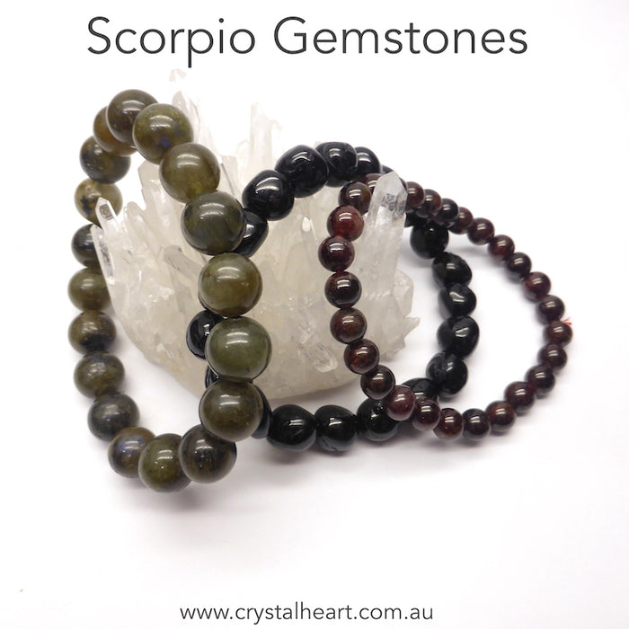 Scorpio Star Sign Stones ~ Set of 3 stretch bead bracelets with semi precious gems | presented in a satin Pouch with descriptions of the stones  | Scorpio~ Labradorite, Tourmaline, Garnet | Genuine Gems from Crystal Heart Australia since 1986