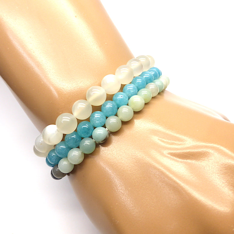 Libra ~ Set of 3 Star Sign stretch bracelets with semi precious gems  | presented in a satin Pouch with descriptions of the stones  | Cancer ~ Moonstone, Blue Quartz, Amazonite | Genuine Gems from Crystal Heart Australia since 1986
