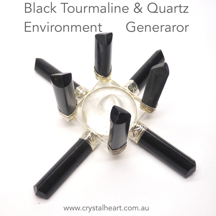 Black Tourmaline & Clear Quartz Grid | Generates a protective strengthening centering environment field | Genuine gems from Crystal Heart Melbourne Australia since 1986
