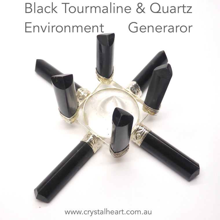 Black Tourmaline & Clear Quartz Grid