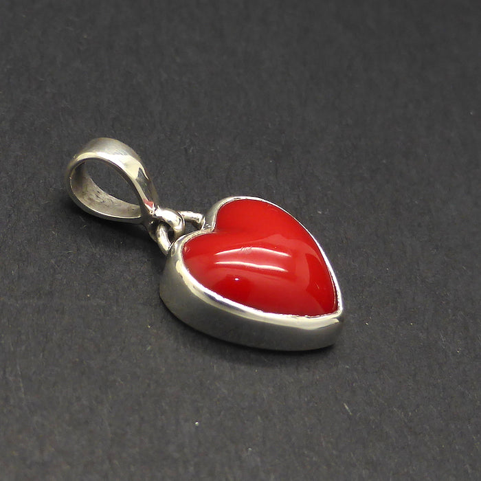 Red Coral Heart Pendant | 925 Sterling Silver | Powerful Imagery of Love |  Genuine Gemstones from Crystal Heart Melbourne Australia since 1986 | Valentine's Day | Romance Stone