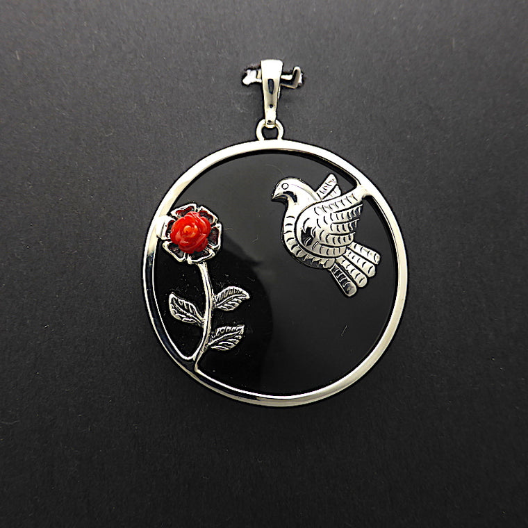 Frida Kahlo Pendant, Dove and Rose, 925 Silver, kt1