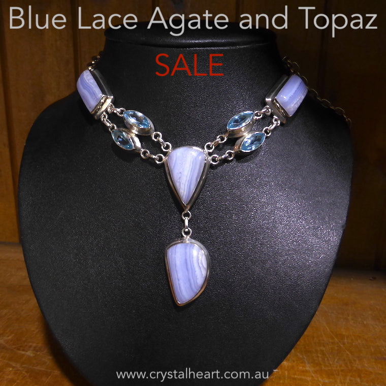 Blue Lace and Topaz Necklace, 925 Silver, Sale