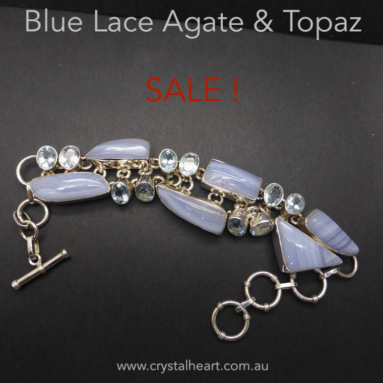 Blue Lace and Topaz Bracelet, 925 Silver, Sale