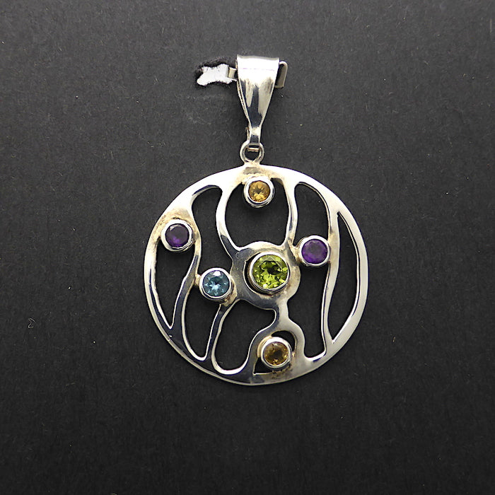 Organic Styled Disc Earrings and Pendant | Quality Faceted Round Gemstones | Peridot, Amethyst, Citrine, Blue Topaz |  925 Sterling Silver | Genuine Gems from Crystal Heart since 1986