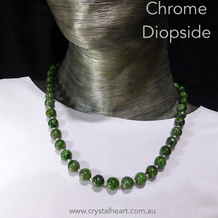 Chrome Diopside Necklace, Bead, 925 Silver nx