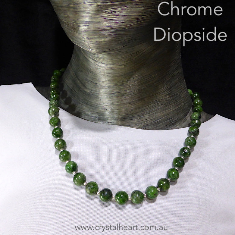 Necklace Chrome Diopside Beads | 925 Sterling Silver | Bright Jade Green Translucent Gemstone | High Vibration Powerful Heart Healing & Transformation  | Genuine Gems from Crystal Heart Melbourne Australia since 1986