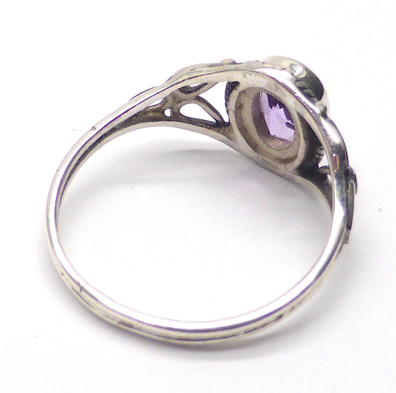 Dainty Amethyst Ring | Oval Faceted Stone | 925 Sterling silver | Silver rope work and Celtic Flower reminiscent of a Triquetra | US size 5 | 6 | 7 | 8 | 9 | Genuine Gems from Crystal Heart Melbourne Australia since 1986
