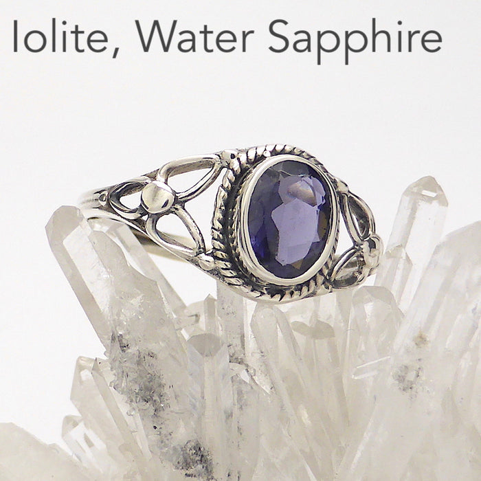 Dainty Purple Iolite Ring | AKA Water Sapphire | Oval Faceted Stone | 925 Sterling silver | Silver rope work and Celtic Flower reminiscent of a Triquetra | US size 5 | 6 | 7 | 8 | 9 | Genuine Gems from Crystal Heart Melbourne Australia since 1986