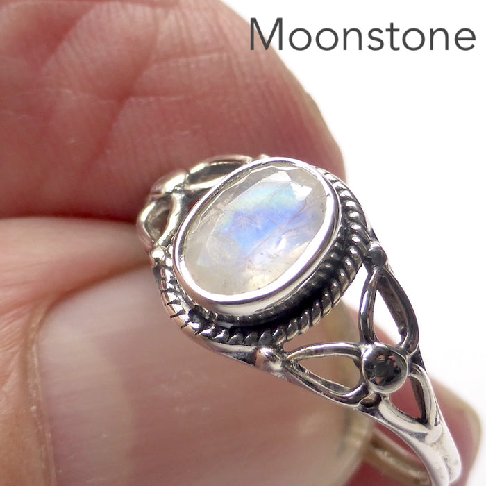 Dainty Rainbow Moonstone Ring | Oval Faceted Stone | 925 Sterling silver | Silver rope work and Celtic Flower reminiscent of a Triquetra | US size 5 | 6 | 7 | 8 | 9 | Genuine Gems from Crystal Heart Melbourne Australia since 1986