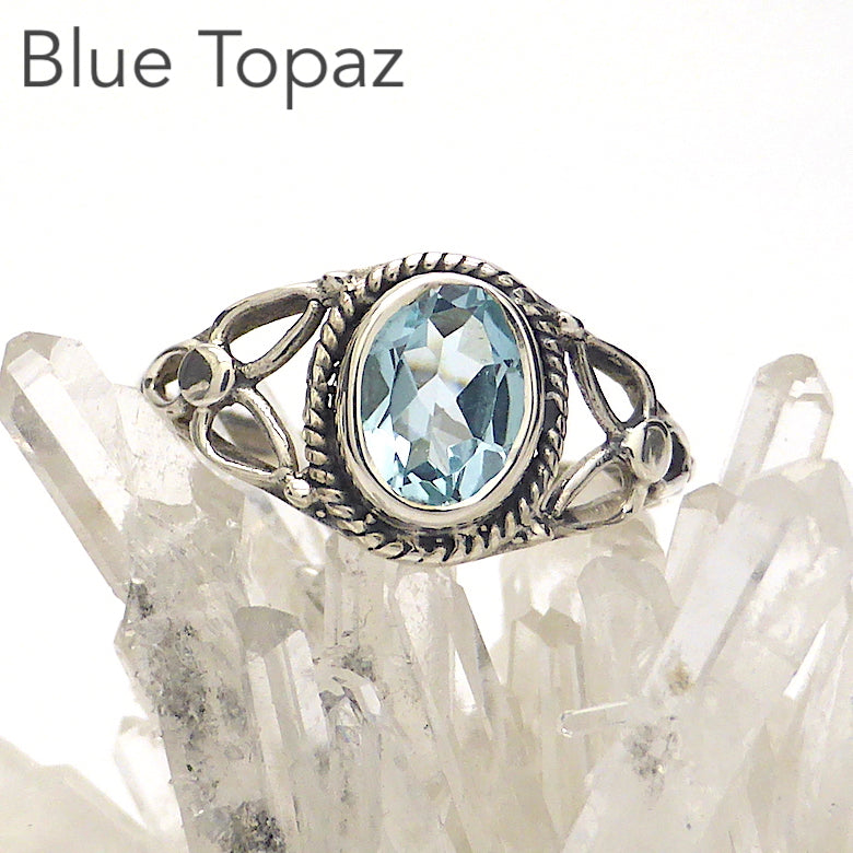 Dainty Blue Topaz Ring | Oval Faceted Stone | 925 Sterling silver | Silver rope work and Celtic Flower reminiscent of a Triquetra | US size 5 | 6 | 7 | 8 | 9 | Genuine Gems from Crystal Heart Melbourne Australia since 1986