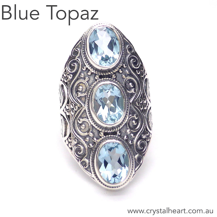 Blue Topaz Ring, 3 Faceted Ovals, Detailed 925 Silver