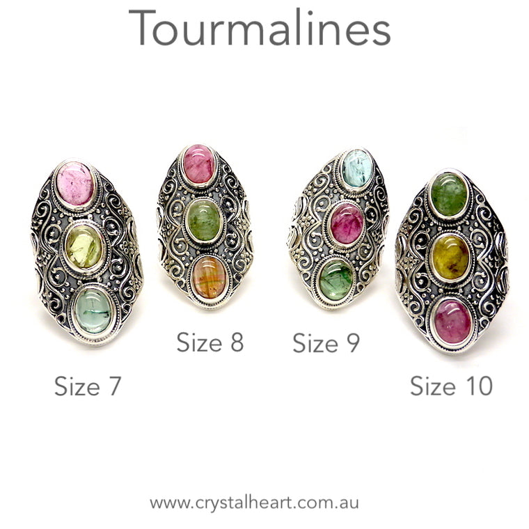 Tourmaline Ring, 3 Ovals, Detailed 925 Silver