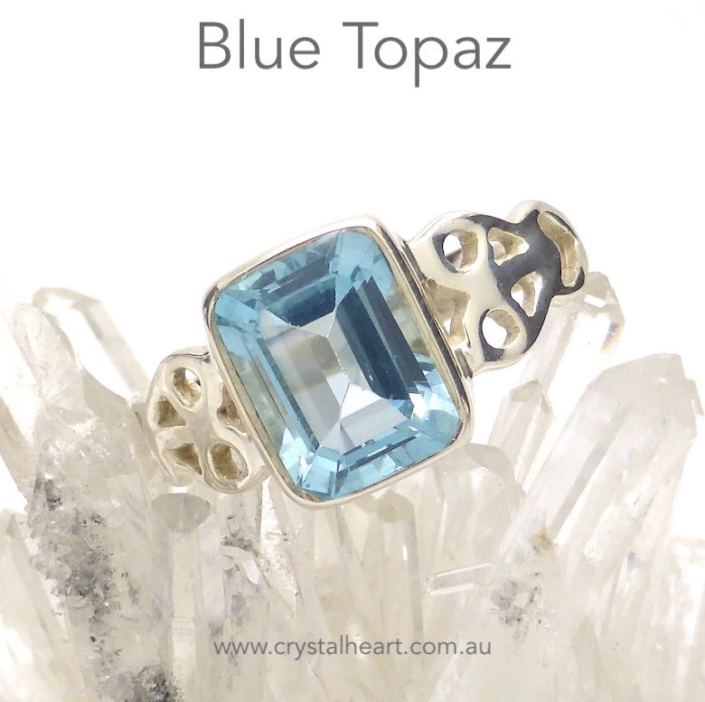 Blie topaz Ring | Faceted Emerald Cut | 925 Silver | Celtic Heart Detail | Dainty Elegance | US Size 6 | 7 | 8 | 9 | Genuine gems from Crystal Heart Australia since 1986