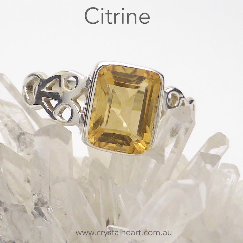 Citrine Ring | Faceted Emerald Cut | 925 Silver | Celtic Heart Detail | Dainty Elegance | US Size 6 | 7 | 8 | 9 | Genuine gems from Crystal Heart Australia since 1986