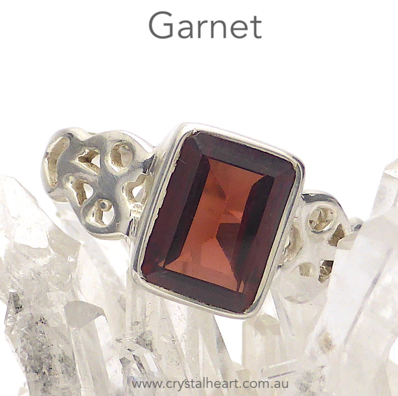 Garnet Ring | Faceted Emerald Cut | 925 Silver | Celtic Heart Detail | Dainty Elegance | US Size 6 | 7 | 8 | 9 | Genuine gems from Crystal Heart Australia since 1986