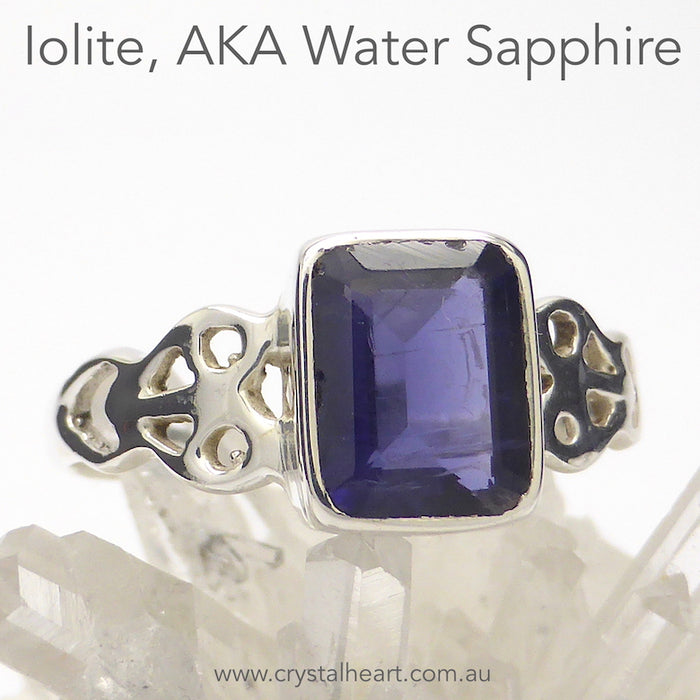 Iolite Ring | Faceted Emerald Cut | 925 Silver | Celtic Heart Detail | Dainty Elegance | US Size 6 | 7 | 8 | 9 | Genuine gems from Crystal Heart Australia since 1986