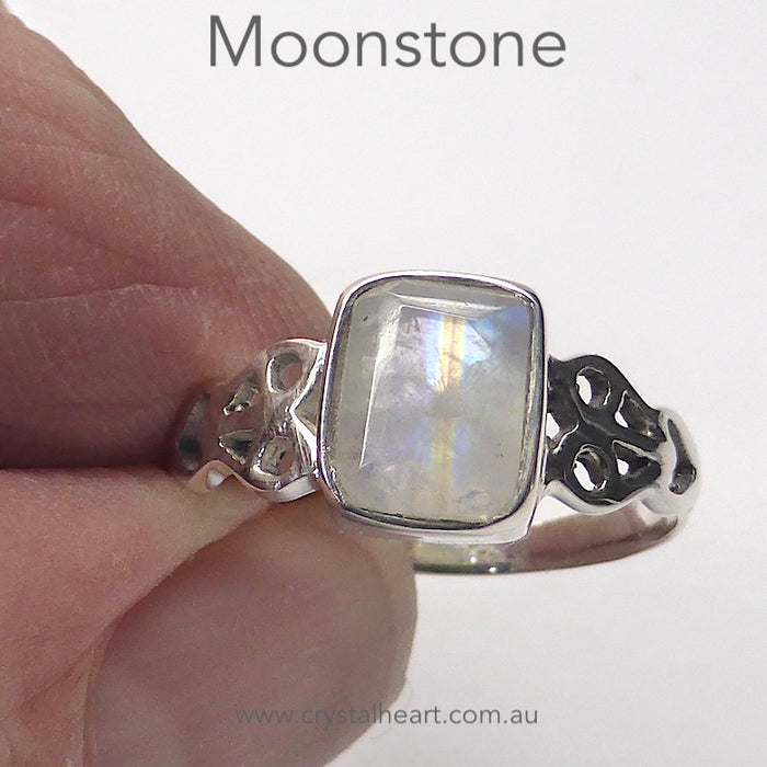 Moonstone Ring | Faceted Emerald Cut | 925 Silver | Celtic Heart Detail | Dainty Elegance | US Size 6 | 7 | 8 | 9 | Genuine gems from Crystal Heart Australia since 1986