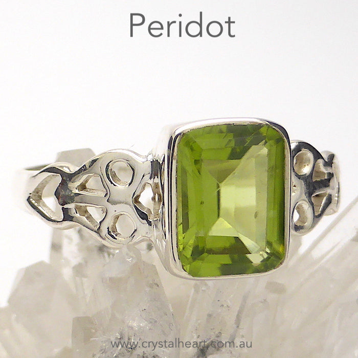 Peridot Ring | Faceted Emerald Cut | 925 Silver | Celtic Heart Detail | Dainty Elegance | US Size 6 | 7 | 8 | 9 | Genuine gems from Crystal Heart Australia since 1986