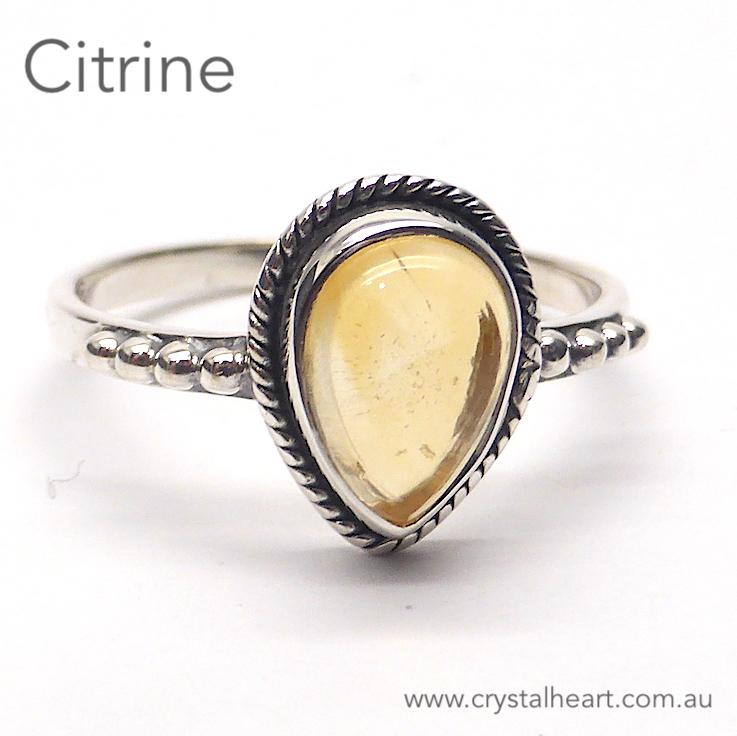 Citrine Ring, Small Teardrop, 925 Silver, GS