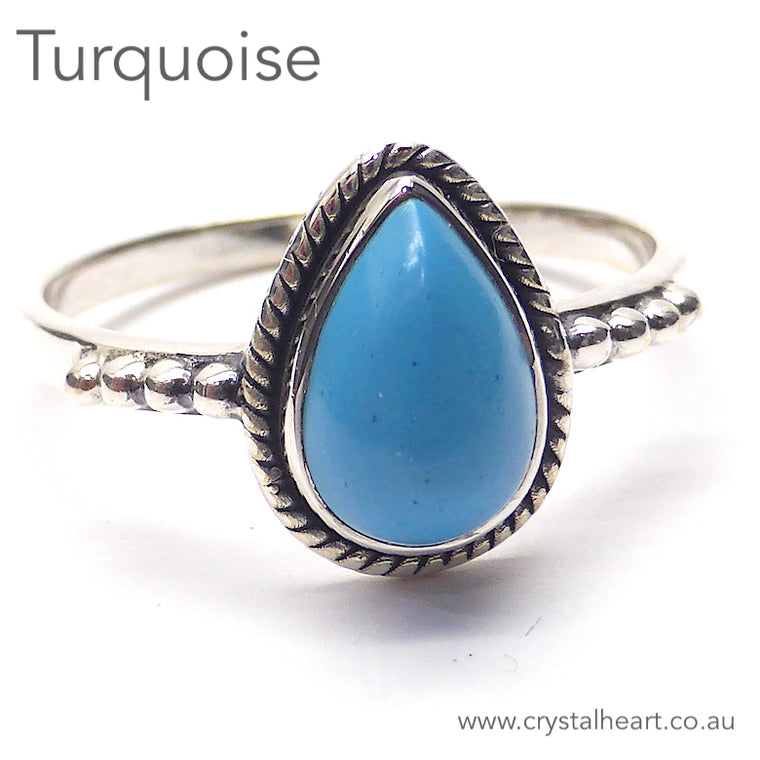 Turquoise Ring, Small Teardrop, 925 Silver, GS