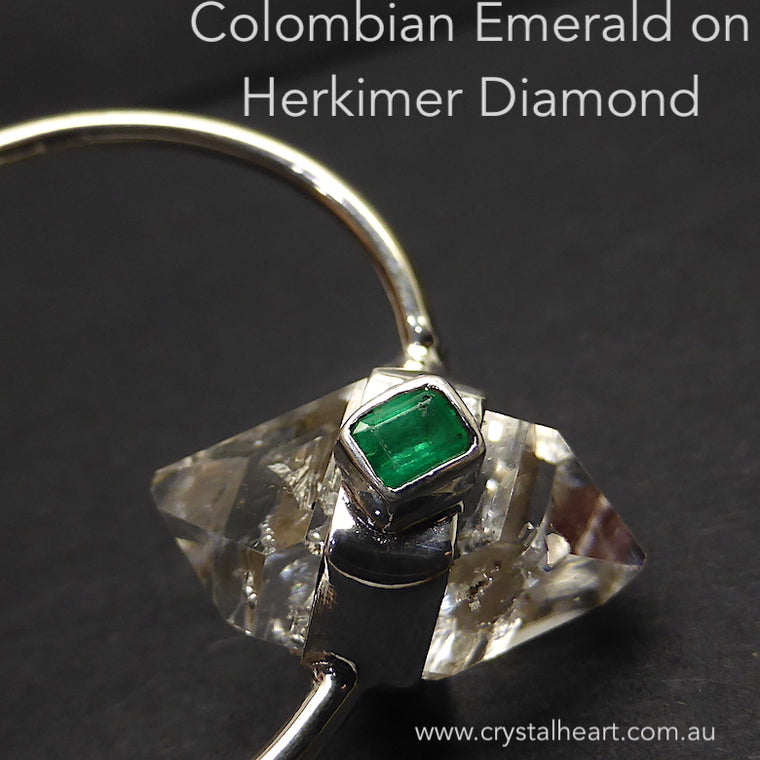 Colombian Emerald on Herkimer Diamond Pendant, 925 Silver