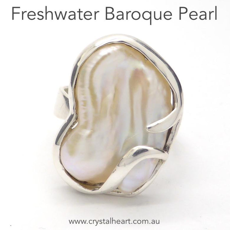Pearl Ring, Freshwater Natural Baroque, 925 Silver kt1