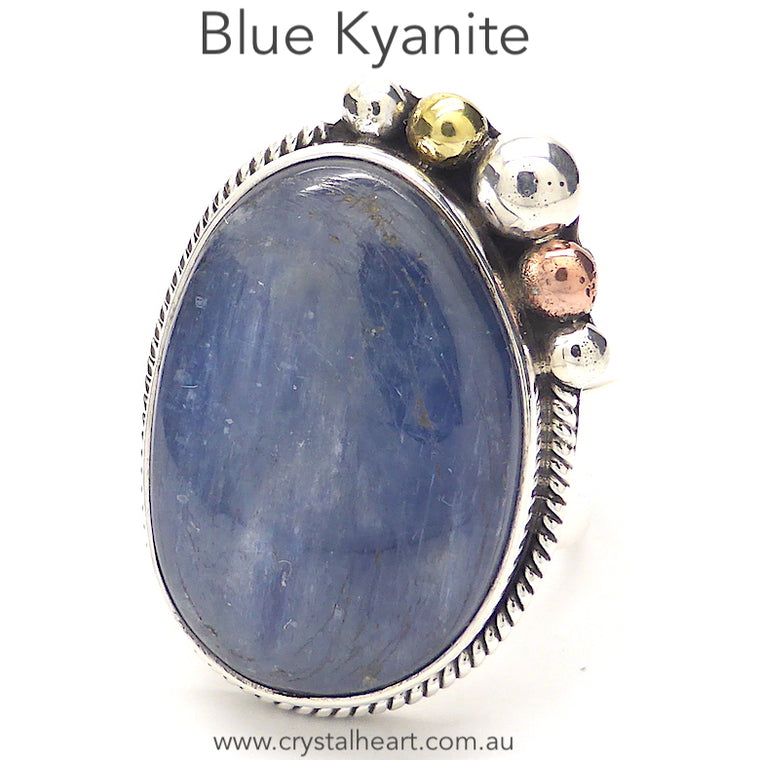 Blue Kyanite Ring, Freeform Cabochon, 925 Silver kt1