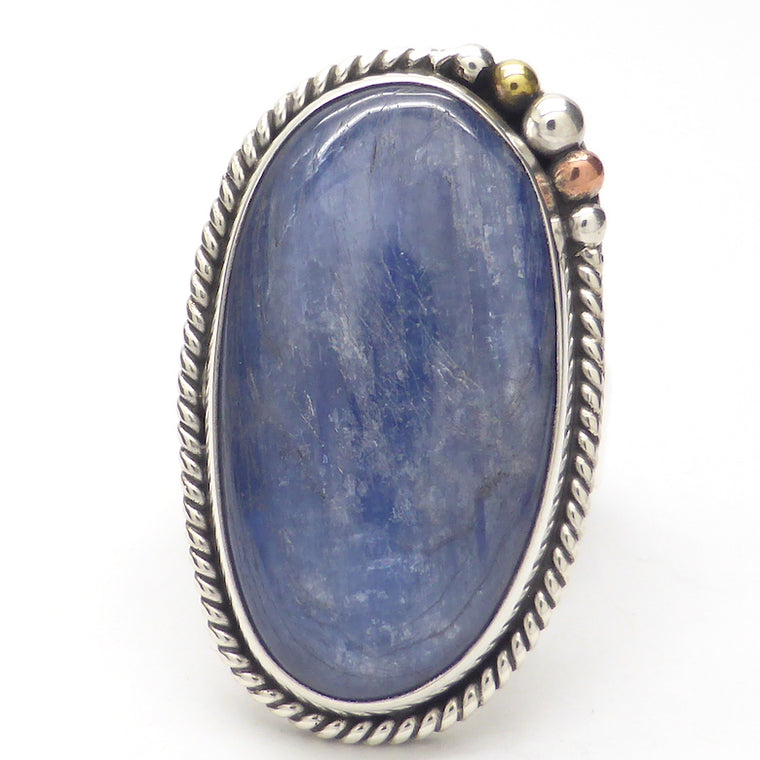 Blue Kyanite Ring, Freeform Cabochon, 925 Silver kt2
