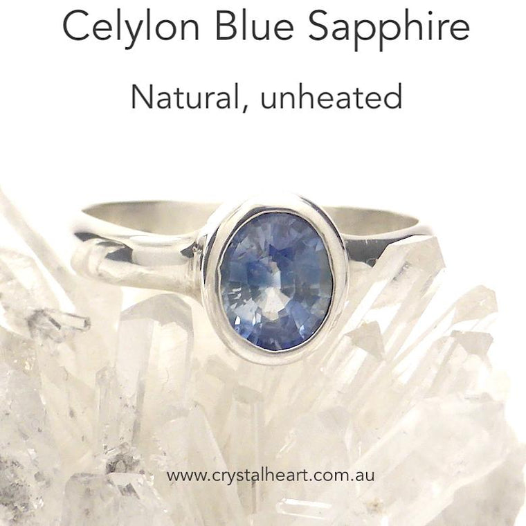 Sapphire Ring, Unheated Natural Blue, 925 Silver