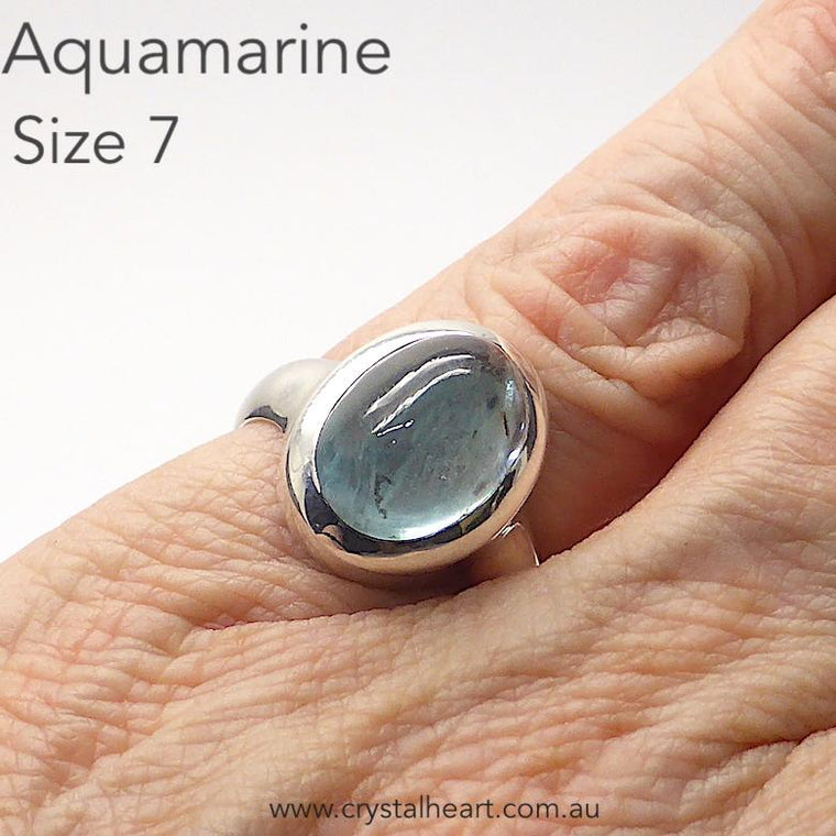 Aquamarine Ring Cabochon Oval, 925 Silver, pc1
