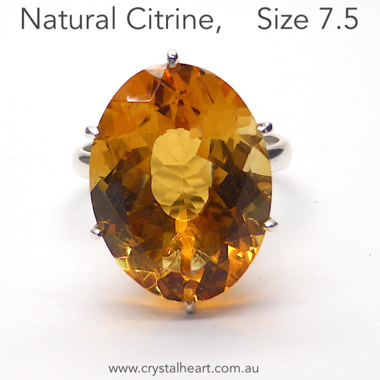 Citrine Ring, Faceted Oval, 925 Silver p7