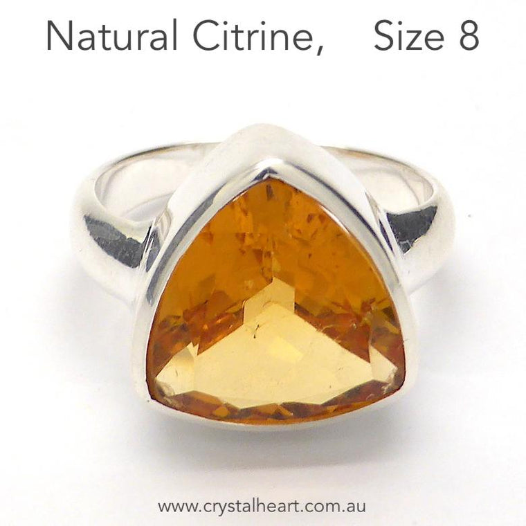 Citrine Ring, Faceted Triangle, 925 Silver p4