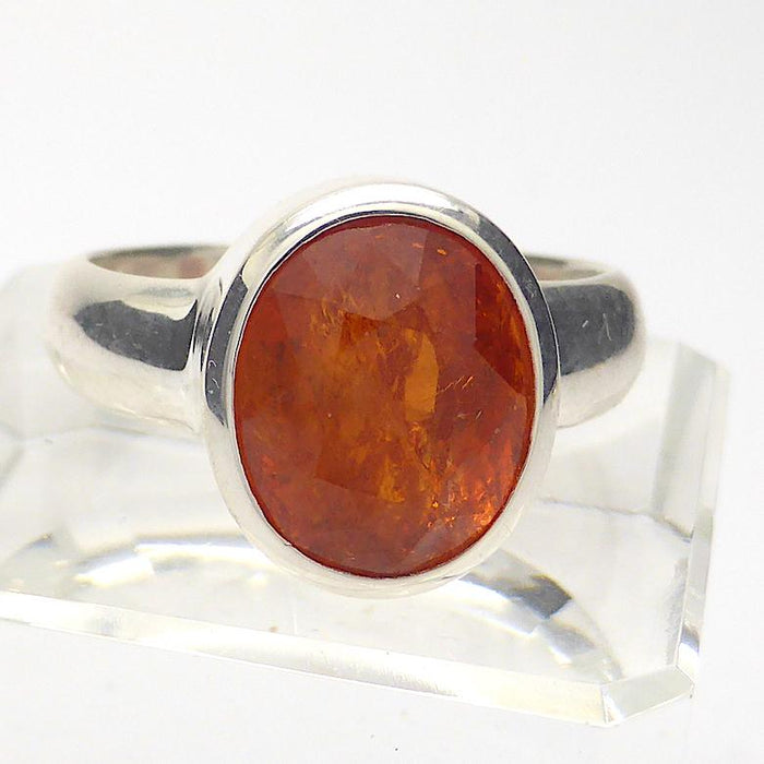 Genuine Mandarin Garnet Ring | Faceted Oval | 925 Sterling Silver | US Size 7.5, AUS O1/2 | Prosperity, Creativity & Joy | Genuine Gems from Crystal Heart Melbourne Australia since 1986