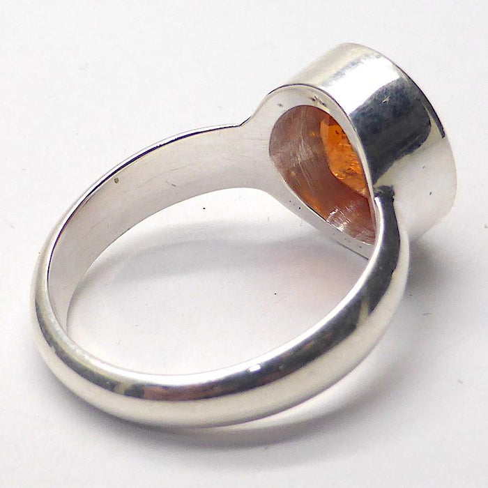 Genuine Mandarin Garnet Ring | Faceted Oval | 925 Sterling Silver | US Size 7.75, AUS P | Prosperity, Creativity & Joy | Genuine Gems from Crystal Heart Melbourne Australia since 1986
