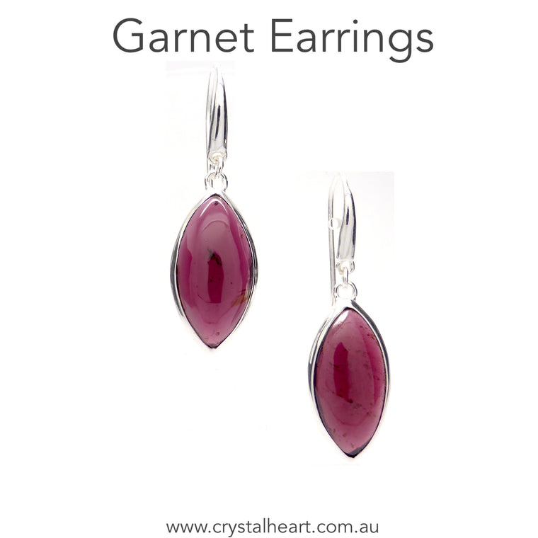 Garnet Earring, Marquis Cabochon, 925 Silver, pc2