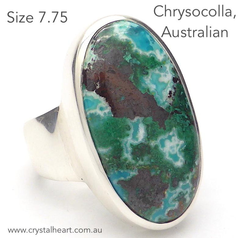 Chrysocolla Ring, Australian, Oval Cabochon, 925 Silver, p2