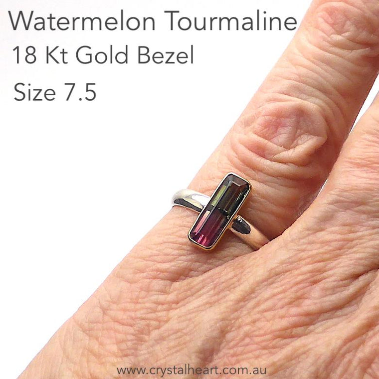 Watermelon Tourmaline Ring, 925 Silver and 18Kt Gold,  mk1