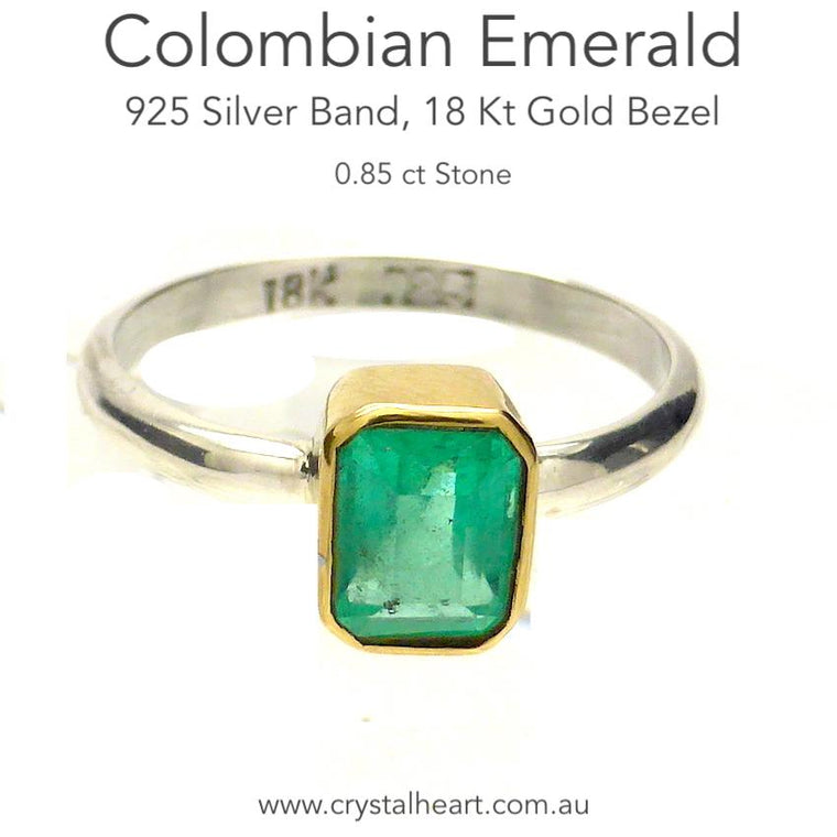 Colombian Emerald Ring, 925 Silver and 18 Kt Gold, mk5