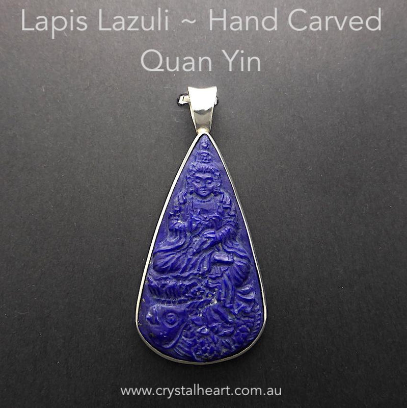 Lapis Lazuli Kwan or Quan Yin Pendant | Hand Carved | 925 Sterling Silver | Quan Kuan Yin | Guan Yin | Goddess of Compassion | Genuine Gems from Crystal Heart Melbourne Australia since 1986