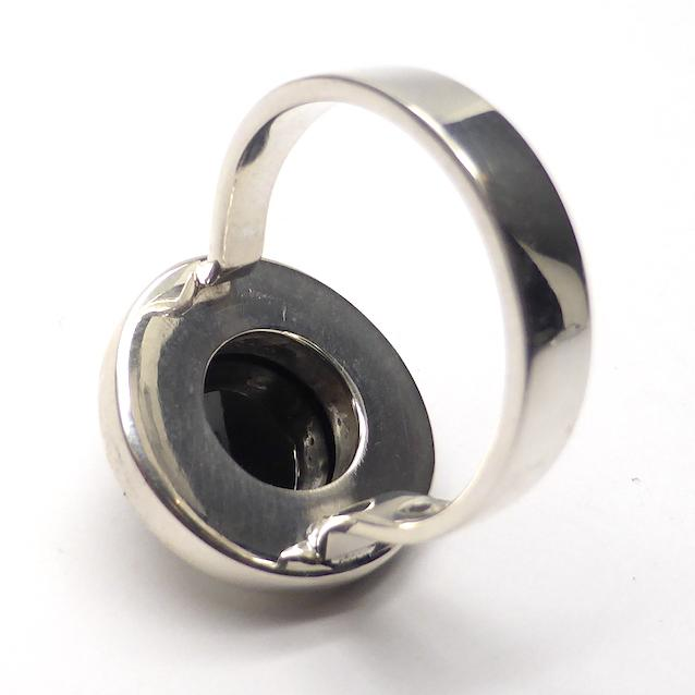 Faceted Black Spinel Ring | Round Faceted Stone | Wide 925 Sterling Silver Border | Simple Minimalist style | US Size 8 | AU or UK Size P 1/2 | Genuine Gems from Crystal Heart Melbourne Australia since 1986