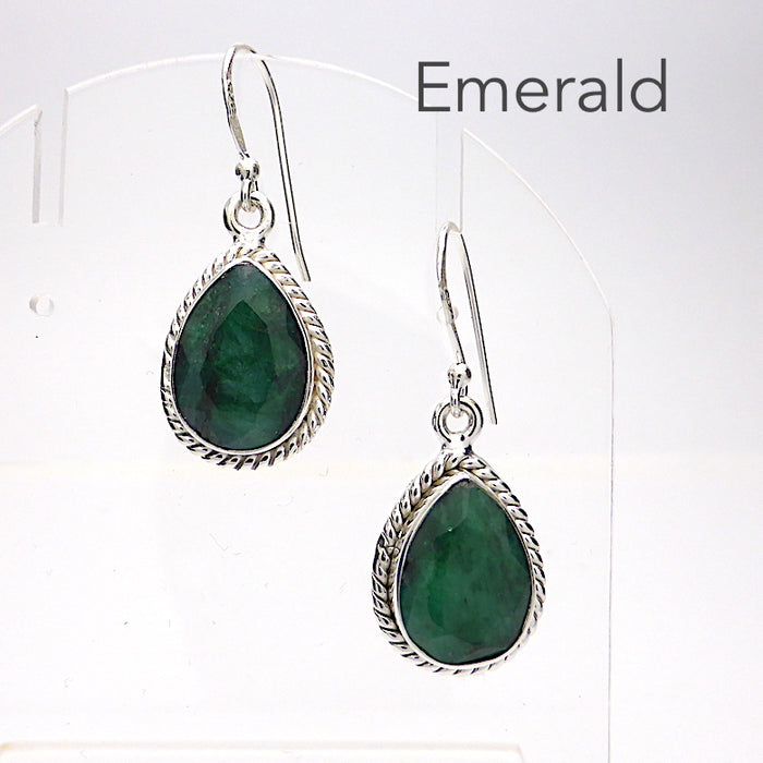 Emerald Matrix Earring | Faceted Teardrops | Also available in Citrine or Garnet | 925 Sterling Silver | Rope work detail | Genuine Gems from Crystal Heart Melbourne Australia since 1986